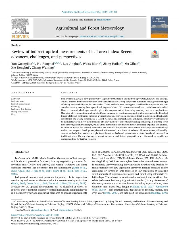 review of indirect optical measurements front page