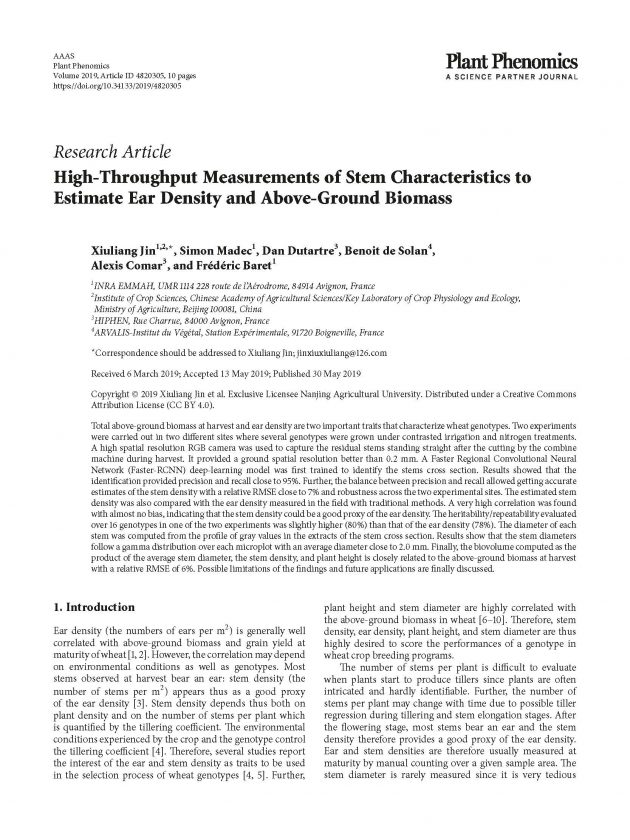 measurements of stem paper front page